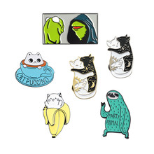 Frog Sloth Cat Enamel Pin Cartoon Cute Animal Brooch Collection Metal Lapel Pin Badge Brooches for Women Men Jewelry Gifts(China)