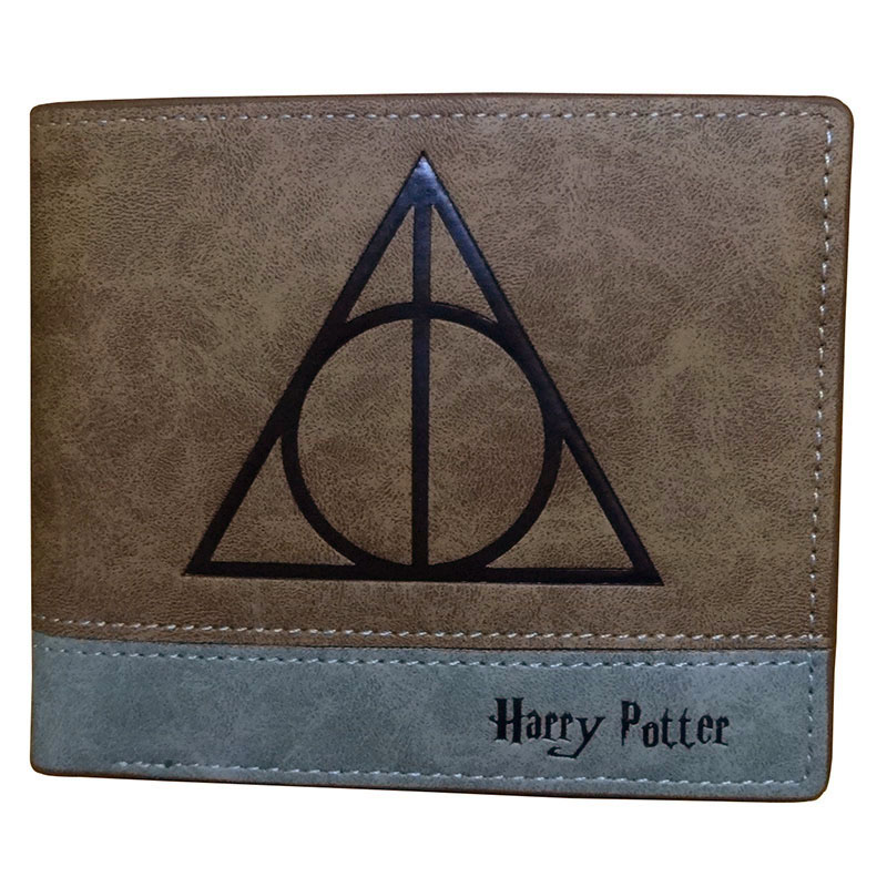 Fashion Leather Men Wallets Movies Anime Harry Potter Embossing LOGO Purse Gifts Kids Short Wallet with Coin Pocket Zipper Pouch harry potter deathly hallows coin wallet cosplay men women bifold purse
