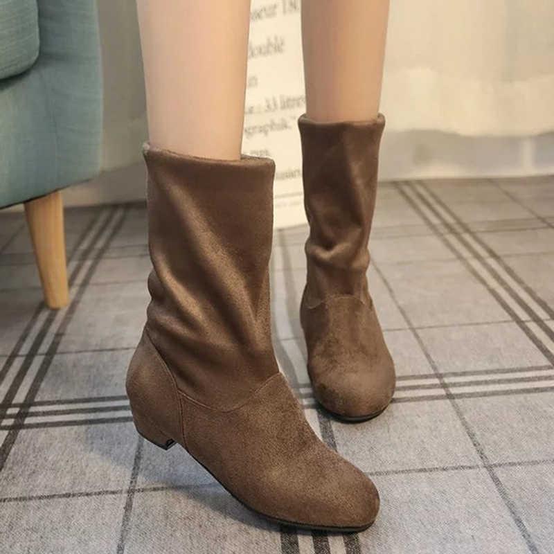 รองเท้าผู้หญิง Suede Flocking กลางลูกวัวบู๊ทส์หิมะอบอุ่น Plush Botas Mujer สุภาพสตรี Martins ถุงเท้ารองเท้า Feminina