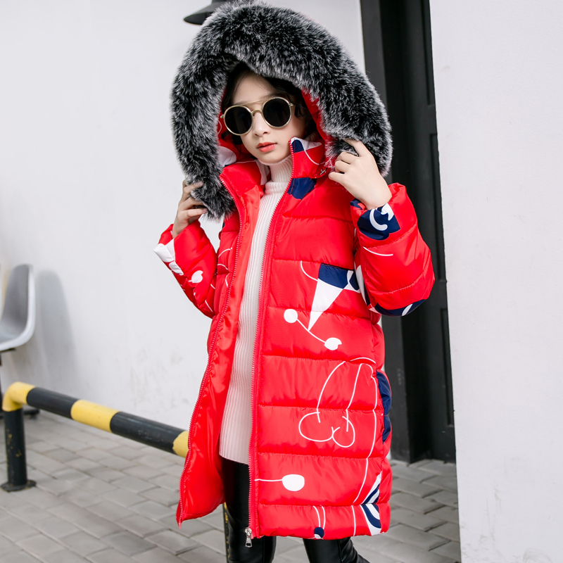 2018 Winter Children Jacket For Girls Coat Kids Hooded Warm Thick Fur Collar Cotton Jacket Parka Long Overcoat 4 6 8 10 12 Years телевизор thomson t43d19sfs