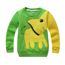 Hot Kids Jongens Lange Mouw Trui Tops Kleur Blok Dier Olifant Patroon Trui T-shirt Maat 1-5Y T(China)