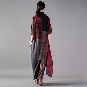 Image 3 - Johnature Vintage Plaid Patchwork Long Loose Dresses Full Sleeve V Neck Pockets New 2020 Spring Cotton Linen Women Dresses