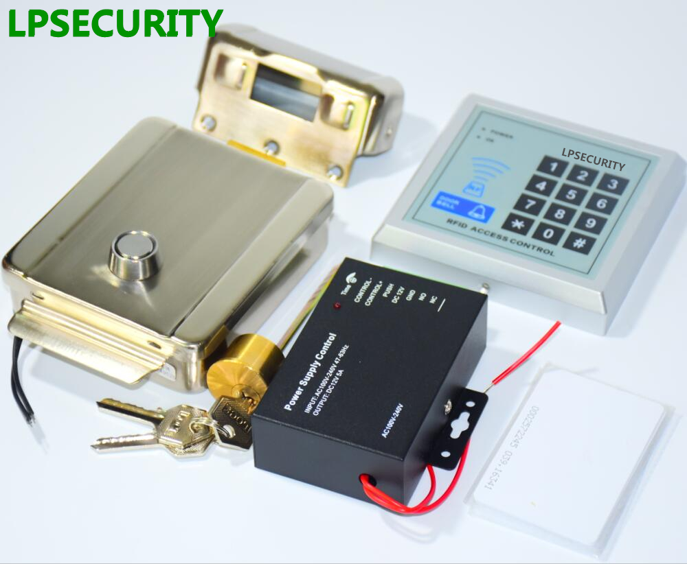 LPSECURITY 10 tags or Cards 125KHZ RFID reader Electronic Security Entry Gate Door Lock Access Control kit for factory lpsecurity battery powered 12vdc 13 56 ic rfid reader electric gate door lock access control system kit with 10tags or tm tag