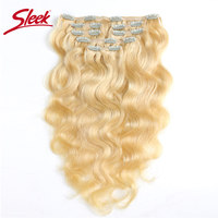 Sleek Hair 7Pcs Clip In Human Hair Extensions Brazilian Body Wave Bonde 613 Color Hair Full Head Sets Remy Hair Weaves