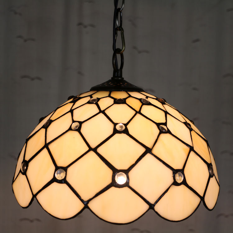 12inch Tiffany Baroque Stained Glass Suspended Luminaire E27 110-240V Chain Pendant lights for Home Parlor Dining Room