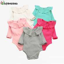 Winter Baby Girl Rompers Fashion Spring Newborn Baby Clothes For Girls Long Sleeve Kids Boys Jumpsuit Baby Girls Outfits Clothes cheap Single Button Full Wutongshu knitted cotton Unisex Fits true to size take your normal size O-Neck Solid yellow red white pink grey green rose