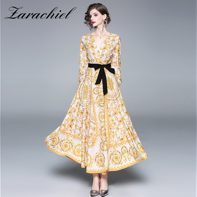 b298c55987063 Runway Designer Baroque Maxi Dress Women's Long Sleeve Sexy Cross V Neck  Yellow Flower Print Black