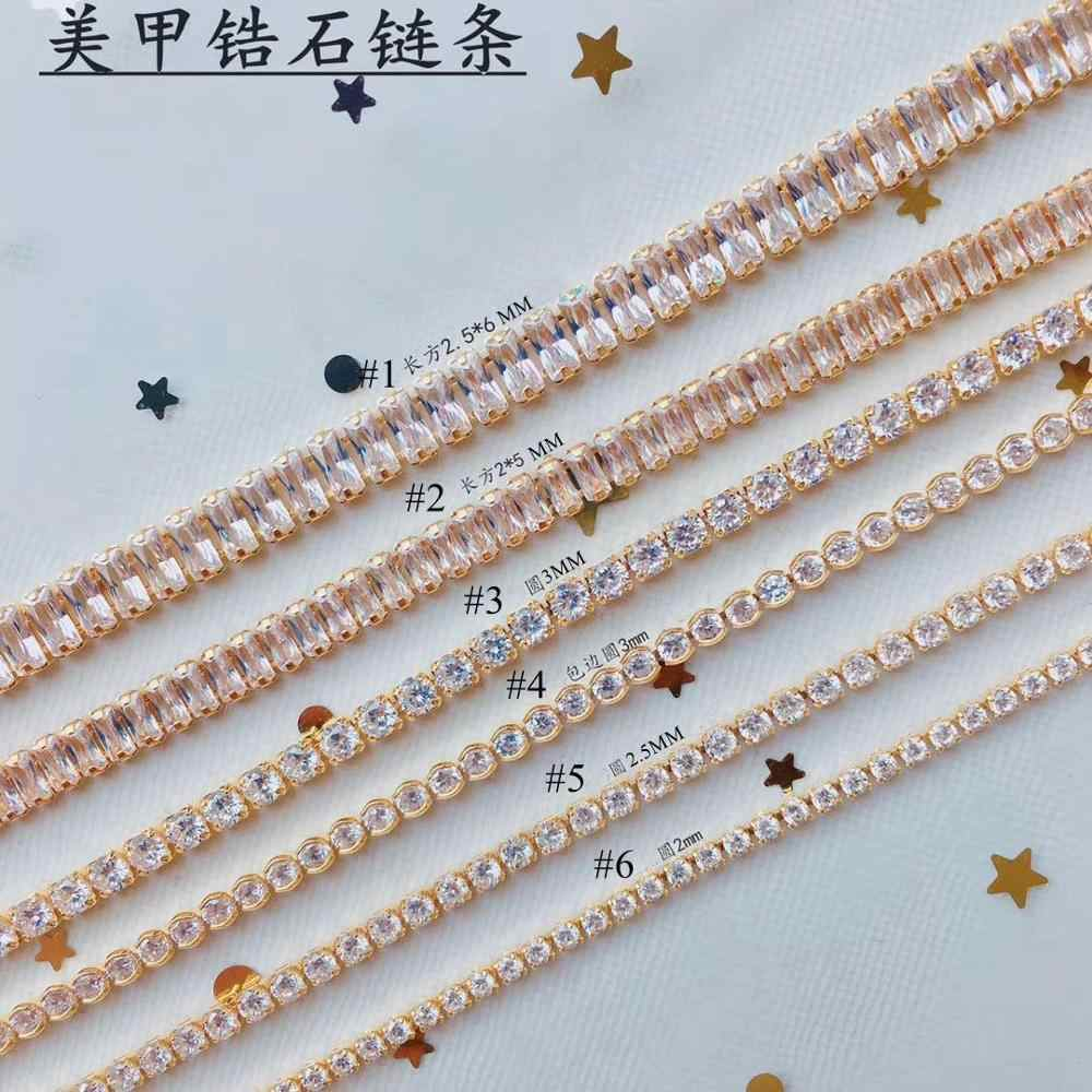 5pcs/pack Luxury Nail Art Zircon Stone Gold Chain Rectangle  Round Square Zircon Stone Chain