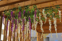 110cm/43.3 Artificial Wisteria Fake Hanging Flower Plant Vine Wedding party art hall office shop Home Garden Decor Supplies