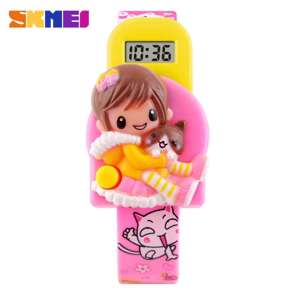 Skmei mieli vaikų vaikai laikrodžiai mados atsitiktinis sportas karikatūra žiūrėti mergaičių gumos dirželis vaikų skaitmeninių LED rankiniai laikrodžiai  t