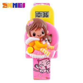 Skmei Cute Children's Kids Watches Fashion Casual Sport Cartoon Watch For Girls Rubber Strap Children's Digital LED Wristwatches