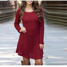 Women Casual Winter Autumn Dress Lady long Sleeve Crewneck Jumper Thin Casual Knitted Sweater Mini Dress Vestidos Mujer 2017New