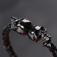 Cool Skull Braided Leather Stainless Steel Bracelet