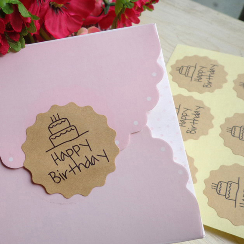 <font><b>120Pcs</b></font> <font><b>Stickers</b></font> Happy Birthday Circle Handmade Cake Packaging Sealing Label Kraft <font><b>Sticker</b></font> Baking DIY Gift image