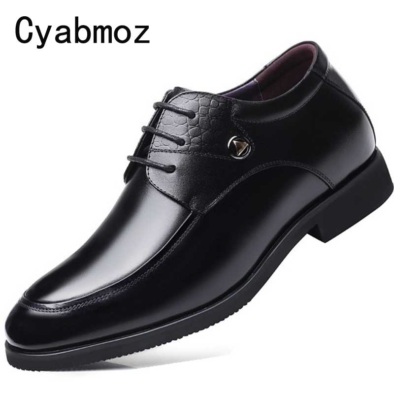 Cyabmoz Genuine Leather Man Dress Shoes 7CM Height Increasing Men Casual Shoes British Male Business Elevator Party Wedding ShoeCyabmoz Genuine Leather Man Dress Shoes 7CM Height Increasing Men Casual Shoes British Male Business Elevator Party Wedding Shoe