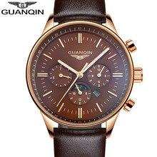 2016 GUANQIN Men Sport Top Brand Luxury Leather Quartz Watch Men's Fashion Casual Big Dial Date Luminous Wristwatch reloj hombre