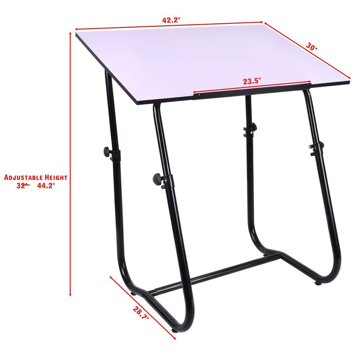 Adjustable Height Drafting Table Us 69 99 Giantex Drawing Desk Portable Drafting Table Adjustable Art Craft Workstation Hobby White Modern Study Furniture Hw52824 In Console Tables