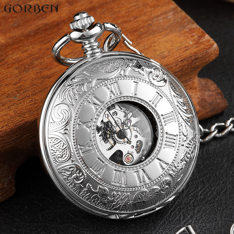 Luxury Silver Mechanical Men's Watch Double Face Roman Dial Man Clock Hand Wind Mechanical Pocket Watch With FOB Chain Best Gift