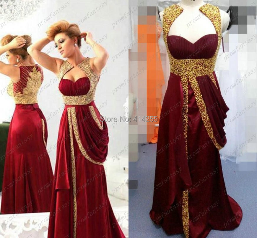 Saudi Arabia Gold Beaded Embroidered Evening Dresses 2014 Cheap Real
