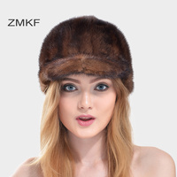 2017 ZMKF New Lady S Mink Hair Winter Cap Bounet Peaked Cap Hat Winter Autumn Warm