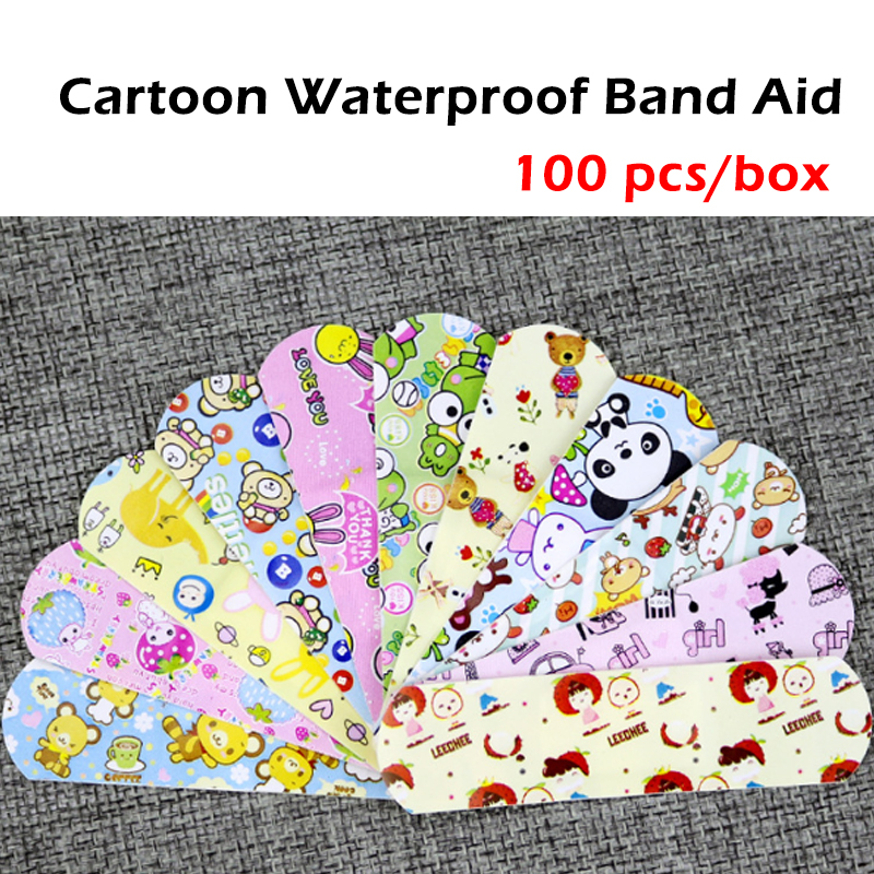 100 pcc/box Cute Cartoon Waterproof Breathable Band Aid Hemostasis Adhesive Bandages First Aid Emergency Kit For Kids Children
