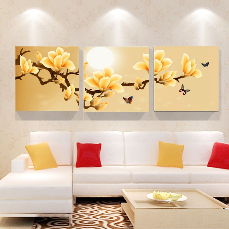 3 panels modern flower painting yellow purple art painting picture cuadros home room hotel decor wall art for living room in painting calligraphy from - Purple Hotel Decor