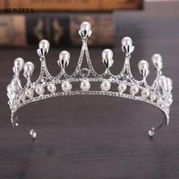 Latest Design Silver Wedding Crown For Brides Big Pearls Crystal Bridal Tiara Princess Hair Accessory SQ0149