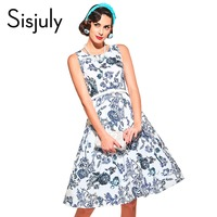 Sisjuly Women Vintage Dress Summer Blue Party Dresses 1950s Floral Print A Line Elegant With Sashes