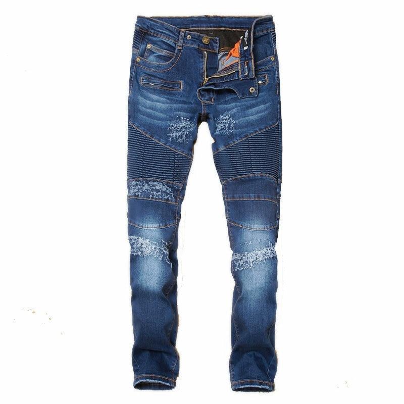 Erkek Kıyafeti'ten Kot Pant.'de UMMEWALO erkek Moda Biker Kot Erkek Fermuar Tasarımcı Eklenmiş Yırtık Skinny Jeans Slim Fit Pilili Denim Kot Homme'da  Grup 1