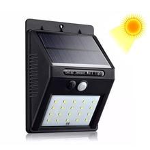 Настенный светильник на солнечной уличное освещение 20/30LED Солнечный Сенсор светильники для дома и улицы Водонепроницаемый безопасности лампа Применение сад открытый газон