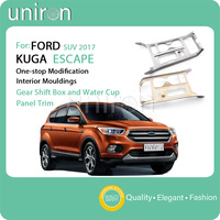 Uniron for Whole Gear Shift Box Central Control Water Cup Holder Frame Trim Cover Sticker ABS Chrome for FORD ESCAPE KUGA 2017