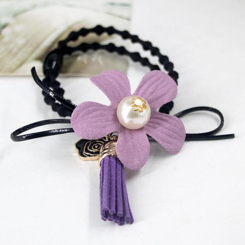 Fashion Women Girls Cute Flower Leather Tassel Rose Flower Simulated pearl Bow Hair Ties Handmade Hairband
