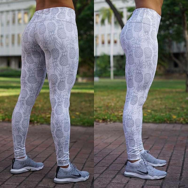 New Pineapple Pattern Digital Printing Leggings Women Fitness Push Up Slim Pants Legging High Waist Workout Blue White Leggings