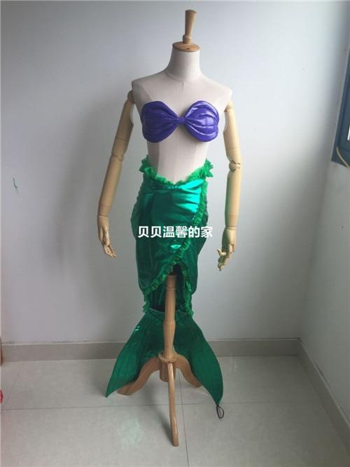 2016 The Little Mermaid Ariel Cosplay Costume Bra+Skirt