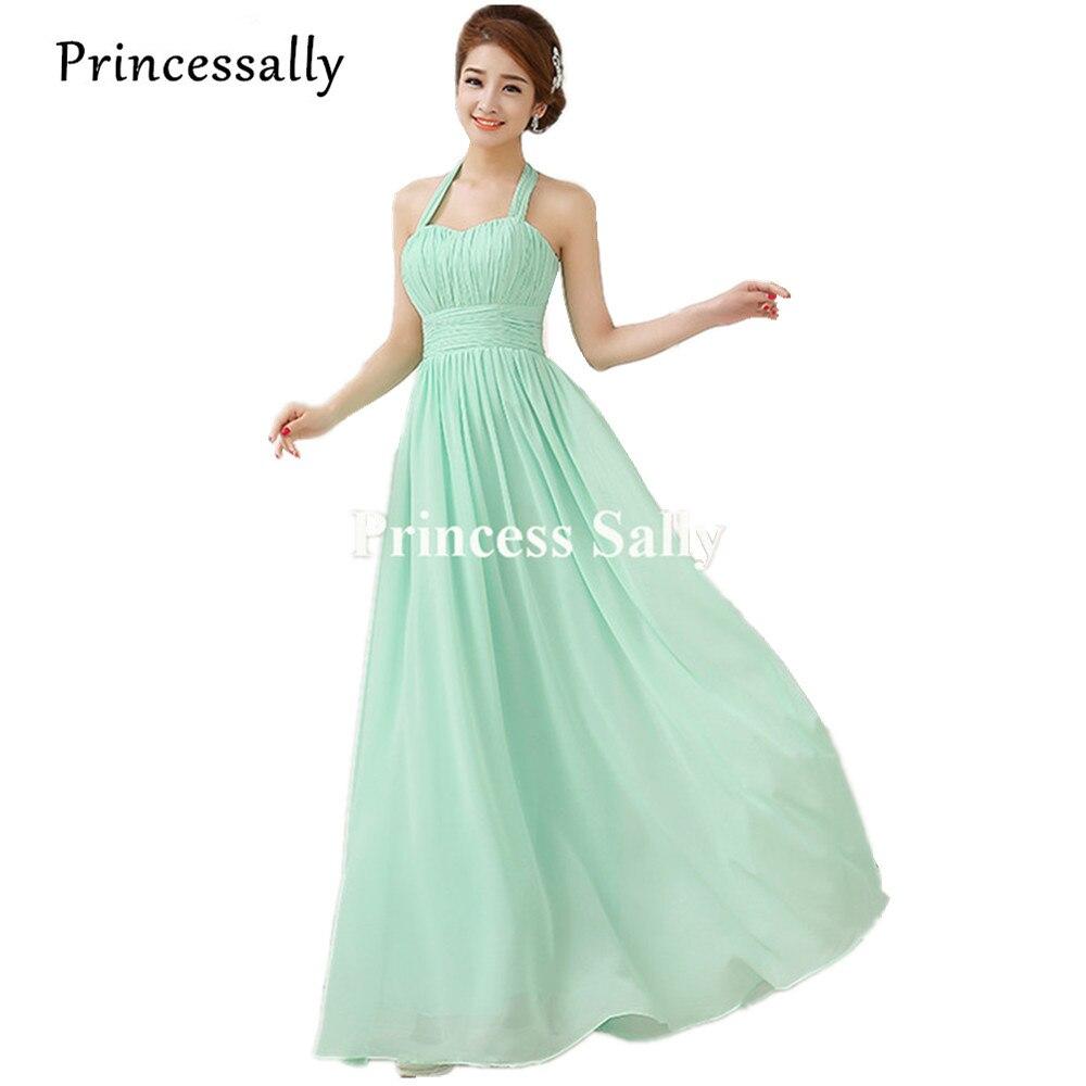 US $16.16 16% OFFMint Green Brautjungfer Kleid Chiffon Halter Liebsten  Prom Party Vestido De Noiva Kleid Für Brautjungfern Lang Günstige Unter