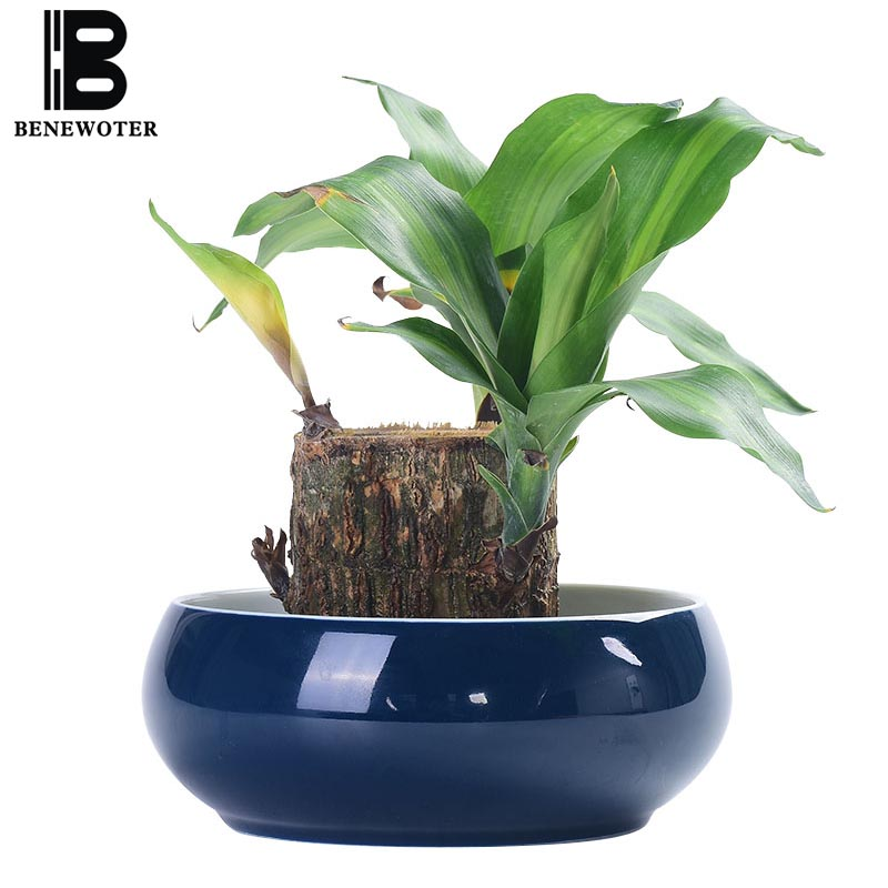 Creative Simple Ceramic Blue Glaze Narcissus Hydroponics Flower Pot Garden Planters Office Desktop Fish Tank Flowerpot Ornaments|Flower Pots & Planters| |  - title=