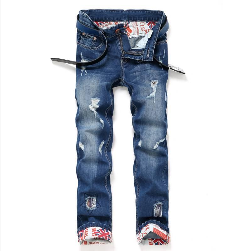 #1524 Men biker jeans 2017 Spring Autumn Ripped jeans for men Fashion Straight designer jeans Vaqueros hombre Distressed jeans