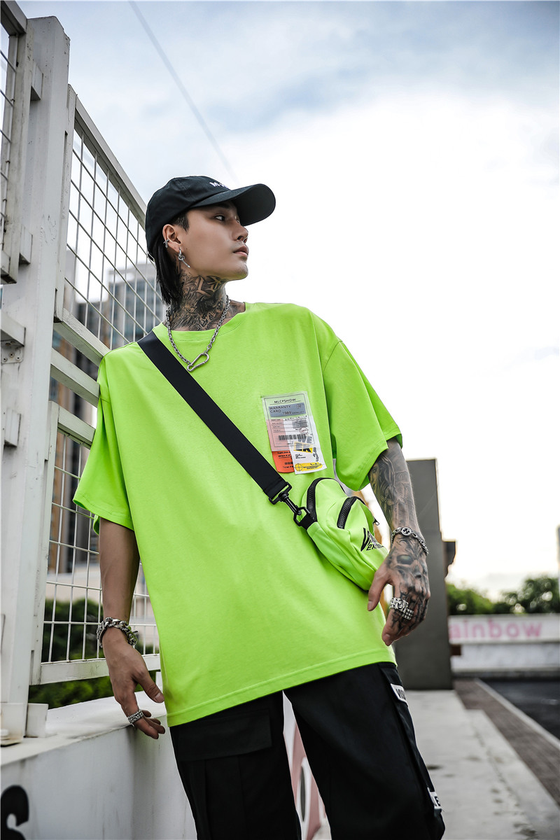 Dark Icon Side Split Fluorescent Green T-shirt with Messenger Bag Hiphop Tshirt Men Cotton Tee Shirts Streetwear Clothing 18