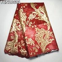 Super luxo africano laço do casamento vermelho e ouro tecido de renda líquida francês com lantejoulas brilhantes para o vestido de casamento de costura TCN106