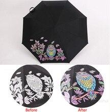 Kreative eule farbwechsel magic taschenschirm winddicht regenschirm gegen uv sun/regen prinzessin regenschirm sonnenschirm