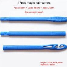 17Pcs / Set Campuran 55cm 45cm 30cm Magic Tidak Haba Panjang Rambut Keriting Curling rambut Curl Spiral Ringlets Leverage Rollers Dan Magic Wand