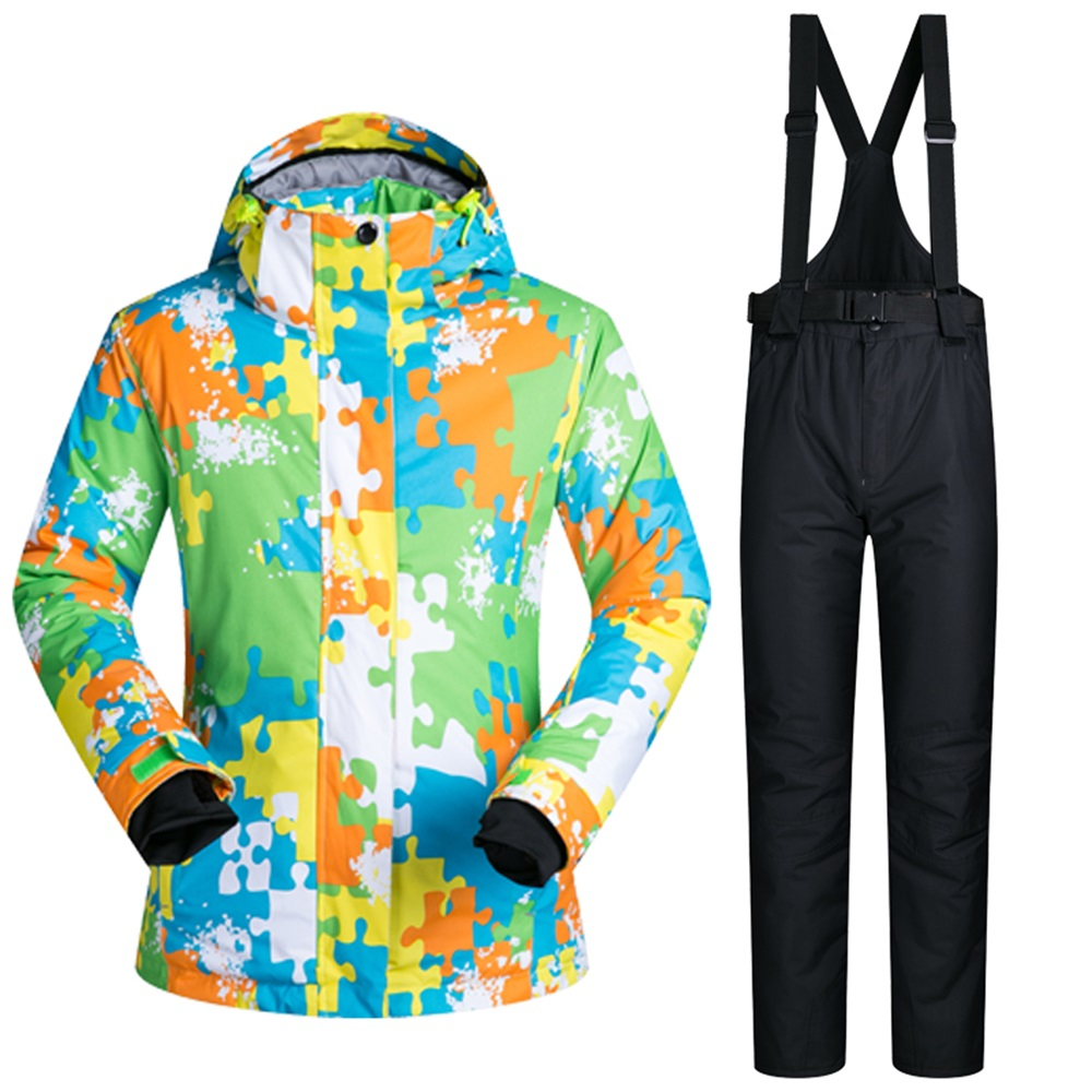 цена на Lovers Ski Suits Waterproof Men Women Ski Jacket+Pants Warm Thicken Snowboard Clothes Pants Set Windproof Breathable Skiing