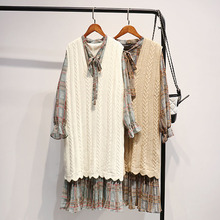 Knitted Vest Womens Long Section Korean Version of The Spring and Autumn College Wind 2019 New Dress Sleeveless Sweater