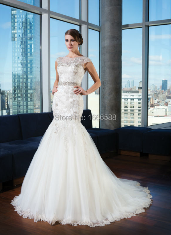 Capped sleeve silver wedding dress