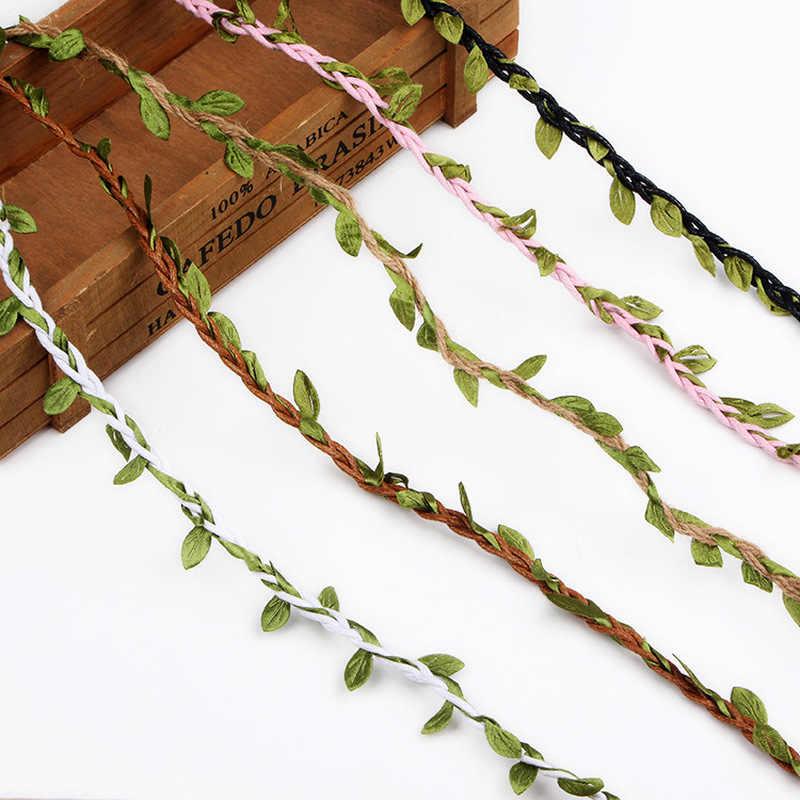 1 ярд/1 м моделирование зеленые листья ткачество пеньковая веревка DIY Свадебные украшения из ротанга Подарочный букет упаковочная веревка 5 мм