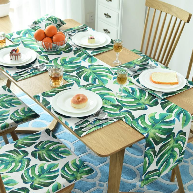 High Quality Cotton Table Runner Tropical Leaves Table Decoration For Home Party Wedding Christmas Decor Tablecloth Table Runner