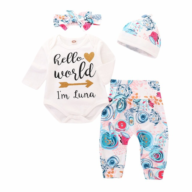 27ba499af772 Christmas baby girl Baby Clothing Newborn Jumpsuit Hello world Romper+Floral  Pants +Hat +Headband 3pcs sets Outfit