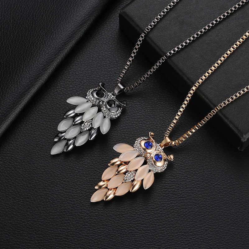 ドロップ配送ヴィンテージフクロウデザインラインストーンクリスタルペンダントネックレス女性のセーターチェーンネックレス宝石の衣類付属品