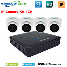ФОТО 4CH NVR KIT IP camera KIT 4 channel network video recorder with  720P IP dome camera Home Surveillance System