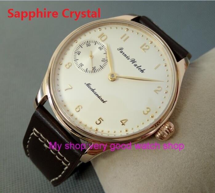 Sapphire Crystal 44mm PARNIS Butter yellow dial asian 6497/3600 Gooseneck Mechanical Hand Wind movement mens watch 88